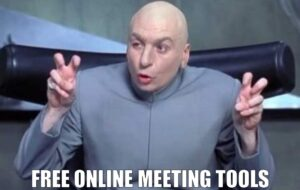 Dr Evil invirted comma hand gesture for free online meeting tools